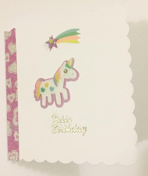 Happy Birthday Unicorn Greetings Card with Shooting Star