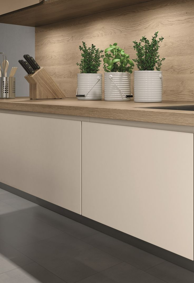 EGGER Kitchen  Worktop H3309 ST28 Sand Gladstone Oak is one of our new generation of worktops where the deep and sandblasted texture aligns with the natural markings.   Doors U702 PM Cashmere