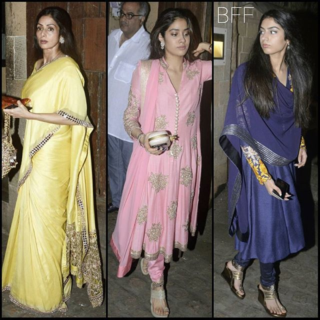 All Festive In @ManishMalhotra05, @Sridevi.Kapoor with Daughters Janhvi & Khushi at Anil Kapoor's for Ganapati Celebrations.  #Sridevi #JhanviKapoor #KhushiKapoor #ManishMalhotra #Bollywood #CelebrityStyle #IndianFashion #Glam #Festive #Desi #Love #BollyFashionFiesta