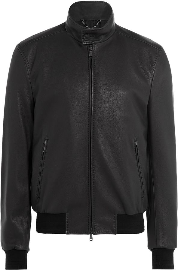 $4,775, Brioni Leather Bomber Jacket. Sold by STYLEBOP.com. Click for more info: https://lookastic.com/men/shop_items/326592/redirect