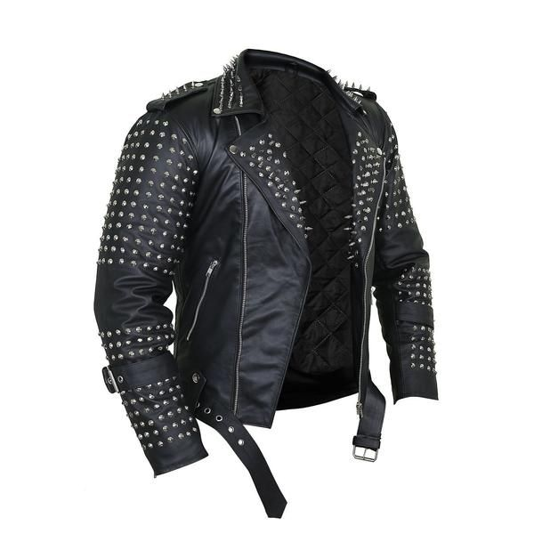 Black Punk Leather Jacket With Spikes Decor In 2020 Leather Jacket Men Studded Leather Jacket Best Leather Jackets