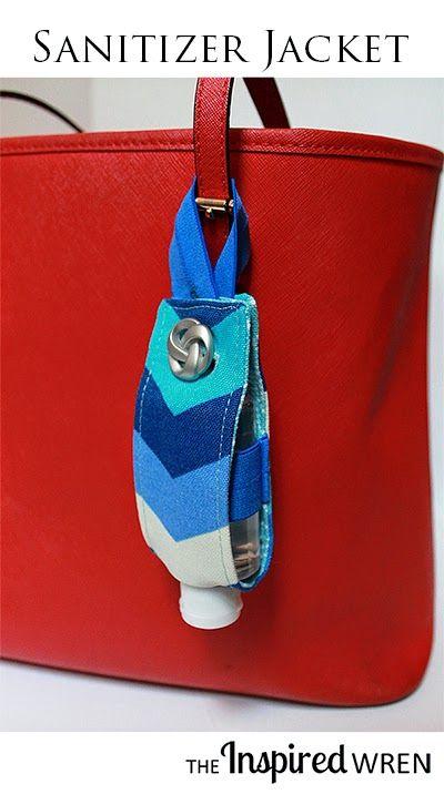 Tasche, Anhänger für kleine Handdesinfektion / Handesinfektionsmittel - TUTORIAL: Hand Sanitizer Jacket