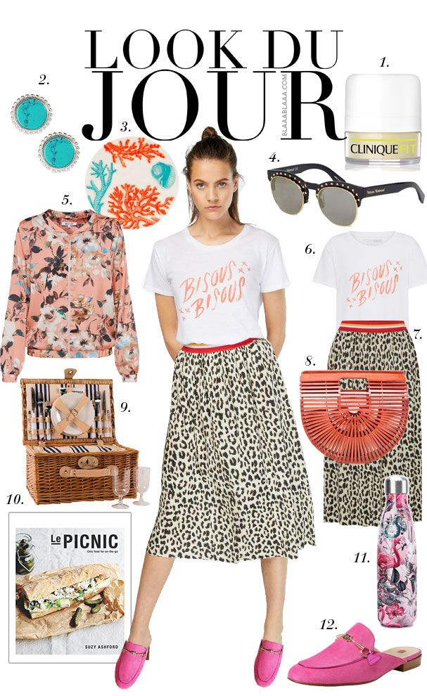 24b7ee73031 White graphic t-shirt+leopard print midi skirt+pink sling-back  loafers+light pink floral print bomber jacket+red wood  handbag+sunglasses+turquoise earrings.