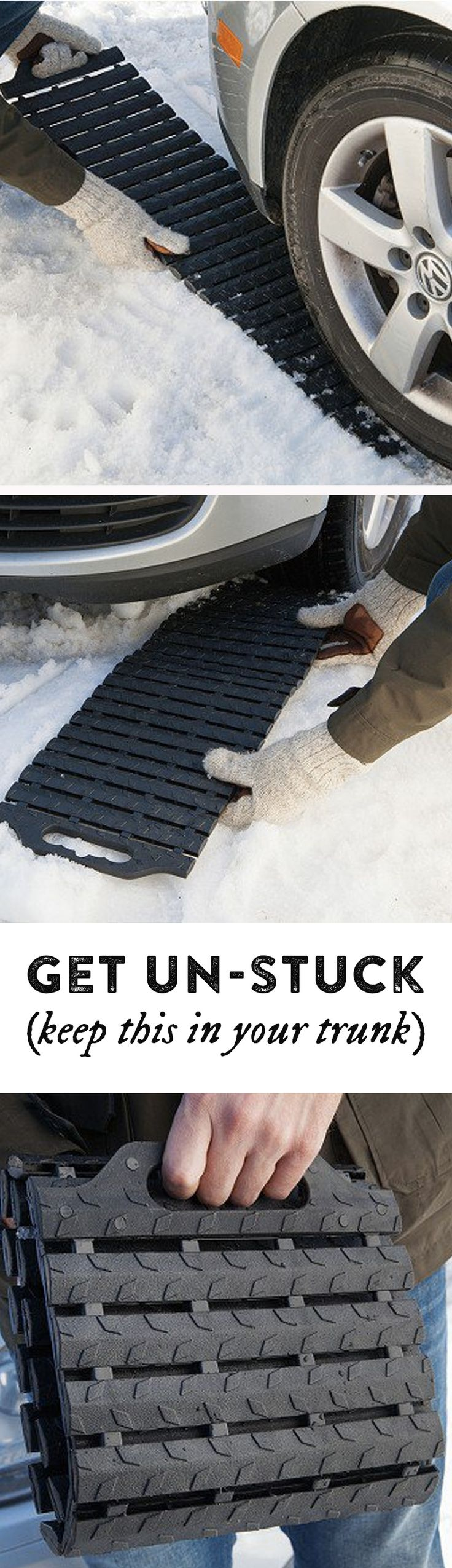 Stuck in ice, mud, or sand? This mat's flexible, treaded links grip the ground…