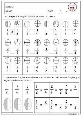 Comparando frações. Matemática: Mais