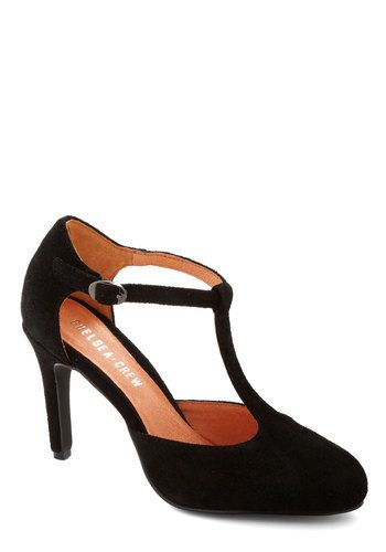 Skip, Jump, and Lindy Hop Heel by Chelsea Crew - Mid, Leather, Suede, Black, Solid, Work, Film Noir, Better, T-Strap, Party, Cocktail, Vinta...