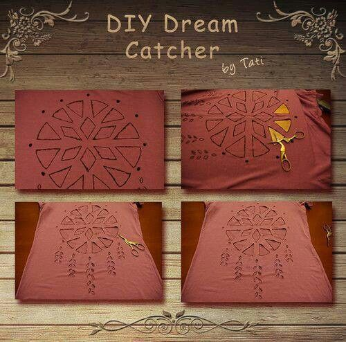 DIY dream catcher T-shirt. I think I'll make one for my sister :)
