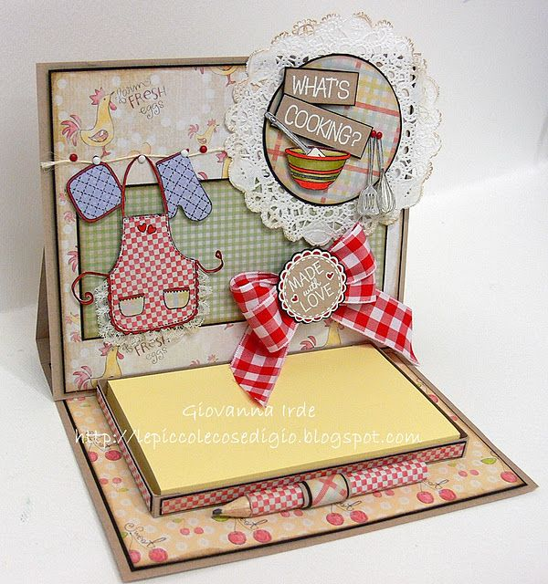 great way to do a post it holder with box and pen holder love the card top too