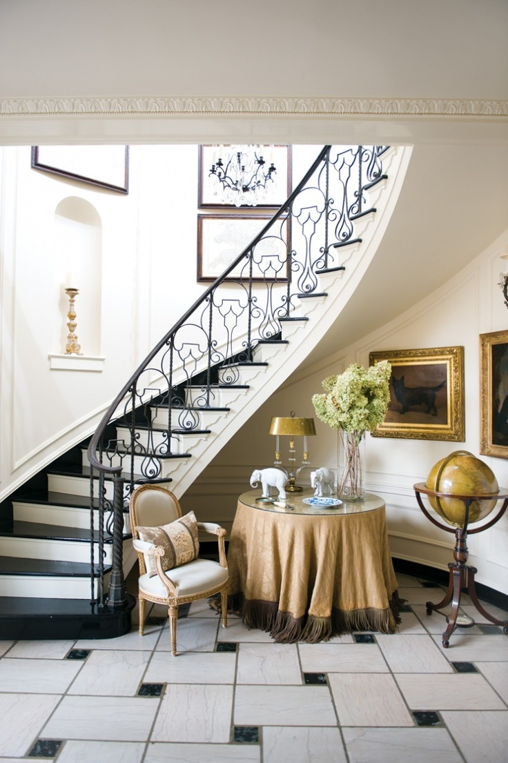 Foyer Staircase Decorating : Winding curved stair case elegant deocr marble floor foyer