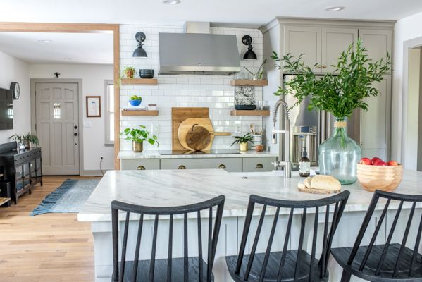 Maplewood Eclectic Kitchen Reveal Scout Nimble Eclectic Kitchen Black Bar Stools Benjamin Moore Kitchen