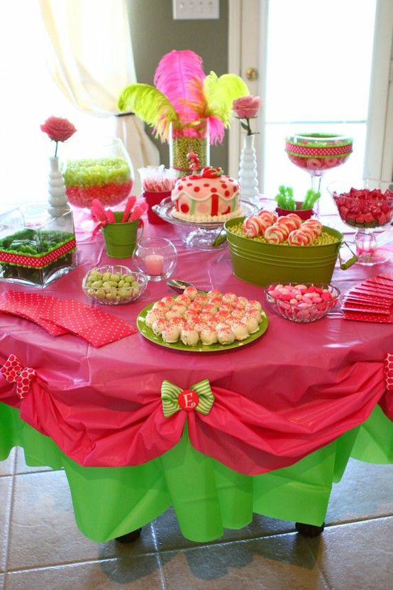 Cute Plastic Tablecloth Ideas: Candy Buffet, Plastic Tablecloths, Party Decoration, Strawberry Shortcake, Party Table, Party Ideas, Birthday Party, Baby Shower