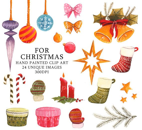 Christmas Clipart Watercolor Ornaments Xmas by CutePaperStudio