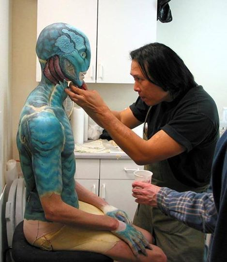 Steve Wang testing the makeup on actor Doug Jones as Abe Sapien in Hellboy (2004) while working on the project as lead FX artist and art director at Mike Elizalde's Spectral Motion.