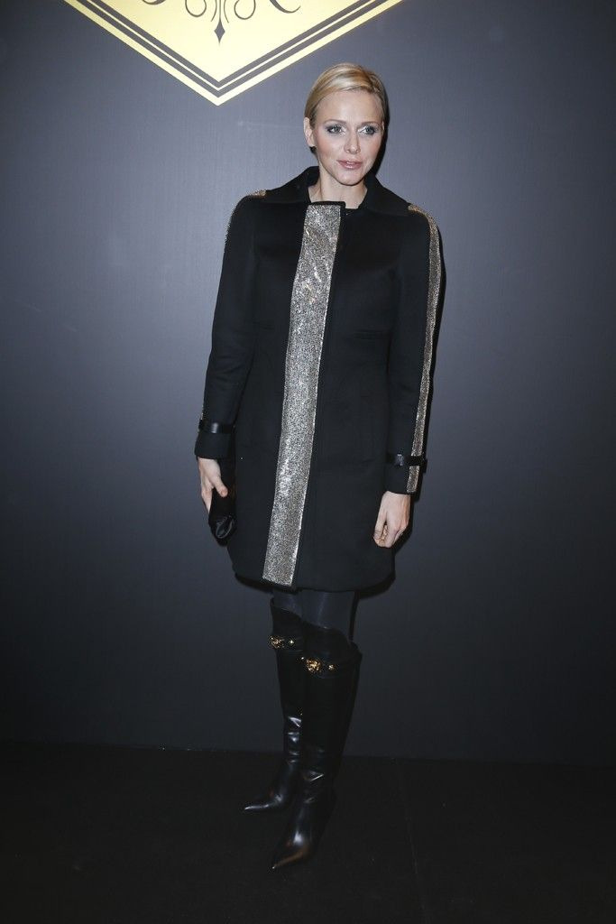 Celebrity Fashion: Coat Couture (Princess Charlene of Monaco stands out in silver-accented topper at Versace.)