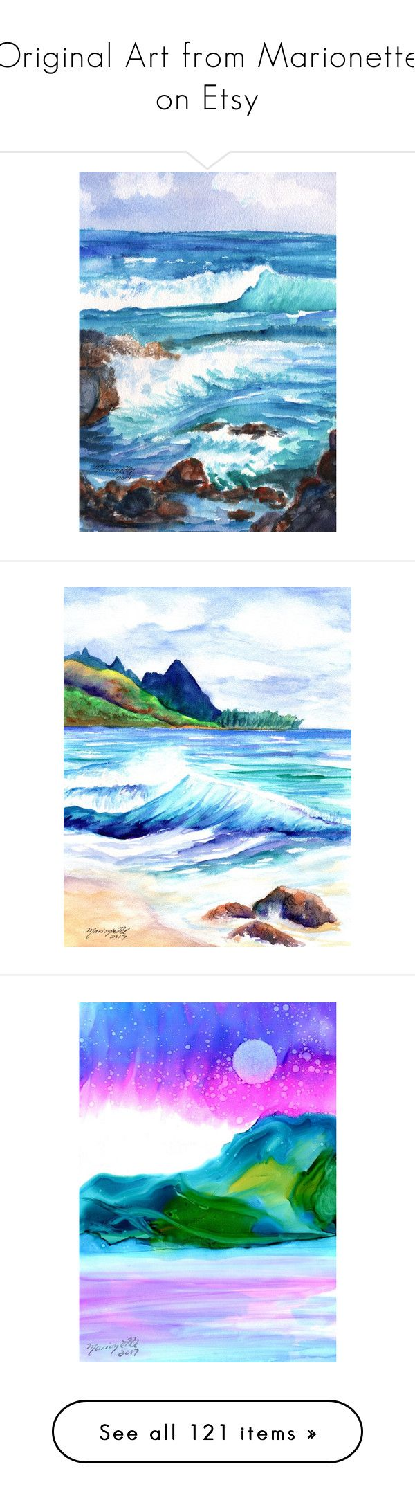 """Original Art from Marionette on Etsy"" by artbymarionette ❤ liked on Polyvore featuring home, home decor, wall art, wave, teal home accessories, teal wall art, sea painting, sea wall art, tropical paintings and mountain wall art"