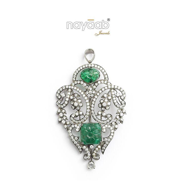 Wear the royal elegance with style!! Emerald Pendant!  #Green #Emerald #Pendant #Neckpiece #Necklace #Nayaab #PinkCity #FashionJewellery #Royal #Traditional