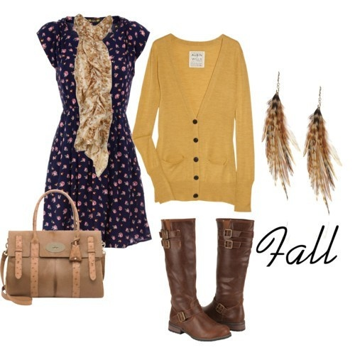 Fall outfit: Fall Clothing, Feathers Earrings, Color, Fall Outfits, Fall Looks, Fall Fashion, The Dresses, Mustard Yellow, Fall Dresses