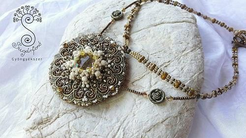 Vintage Bead Embroidery Necklace