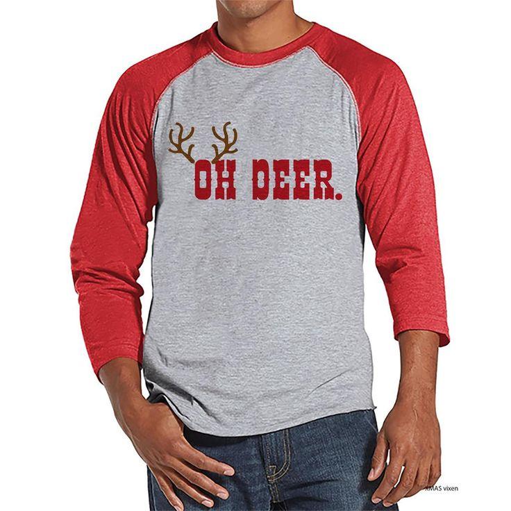 Men's Christmas Shirt - Oh Deer Shirt - Funny Christmas Present Idea for Him - Family Christmas Pajamas - Red Raglan Tee - Christmas Gift