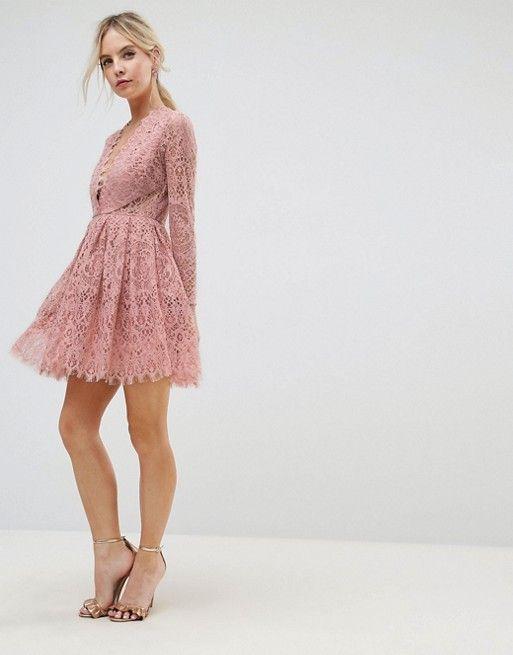 Asos Petite Asos Petite Long Sleeve Lace Mini Prom Dress Asos