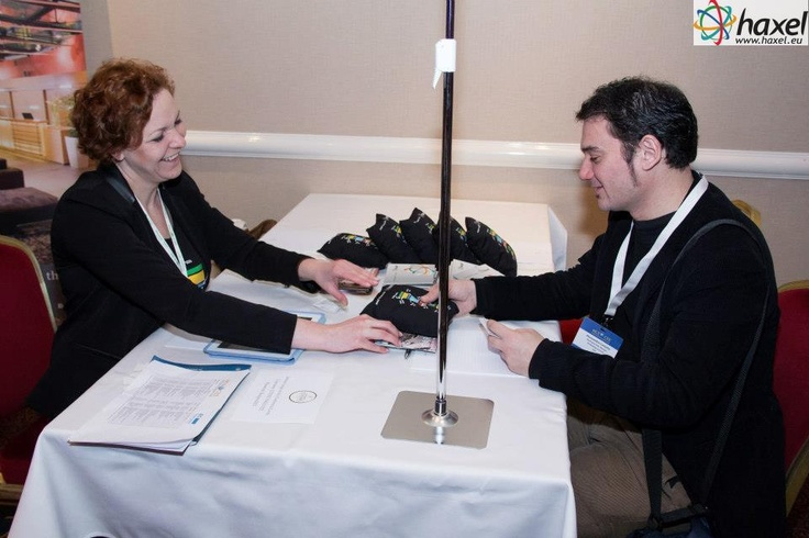 Talking to the host during the MCE CEE - MICE Event for Central & Eastern Europe