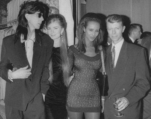 Rock star Ric Ocasek, wife, model Paulina Porizkova, model Iman and boyfriend, rock star David Bowie attending the 7th On Sale AIDS benefit sponsored by the Council of Fashion Designers of America. Description from gettyimages.com. I searched for this on bing.com/images