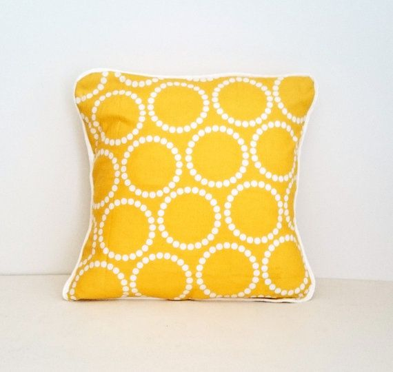 Yellow Envelope Cushion Cover with White Piping by KBSDESIGNS