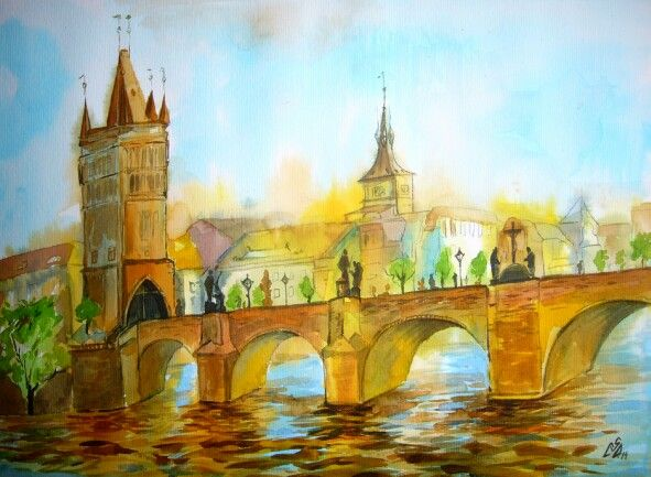 """Bridge 3 "".Watercolor by Gabriela Calinoiu.  www.picturipeisaje.wordpress.com"