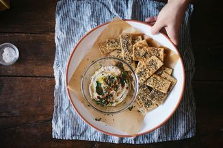 I've made these crackers plain, with garlic and herbs, with za'atar, etc. In the past, I've mixed the za'atar into the dry mix, and you can totally do that, but since the colors and texture of za'atar are so pretty I thought rolling them into the surface would be best...and it was a total win both for looks and taste. It was perfect with some extra olive oil on top and some Maldon for good measure. (Crackers adapted from Farm On Plate)