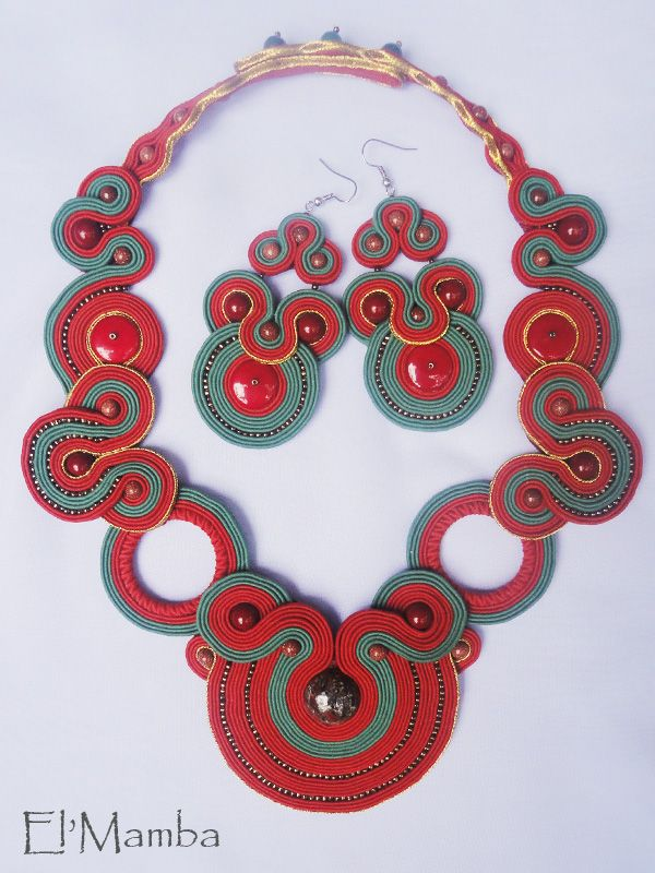 soutache jewelry, soutache earrings, soutache necklace, African inspired