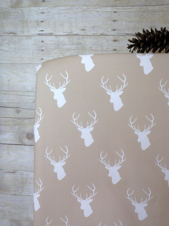 Rustic Crib Sheet, Baby or Toddler Fitted Crib Sheet, Deer, Woodland, Hunting Nursery