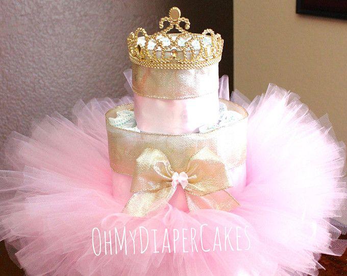 Nivel 3 Pañales Princesa Pastel, Estilo Color De Rosa Y Oro, Tutu Pañal Cake