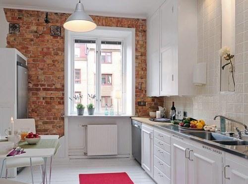 paredes de ladrillo en la cocina