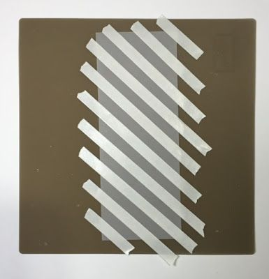 cardmaking tip: create silver stripes on background paper with double sided tape and embossing powder ... could be done with any color ...