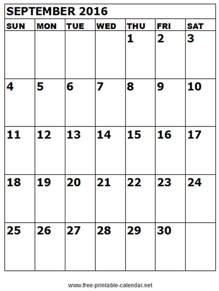 calendar september 2016 Miscellaneous Pinterest 2016 calendar - sample monthly calendar