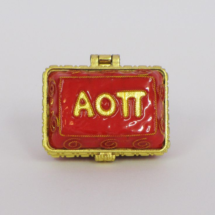 Officially licensed Alpha Omicron Pi, handcrafted, 24k gold plated cloisonne - www.KittyKeller.com