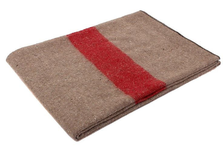"Swiss Style Wool Blanket Tan w/ Red Strip 62"" x 80"" Warm Fire Retardant Blankets"