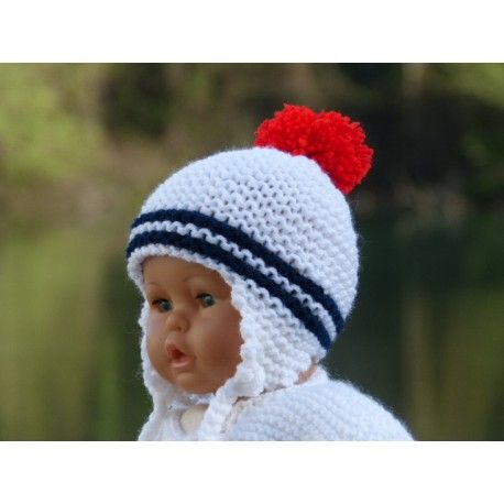 9f4056700b8 Adorable petit bonnet péruvien pour bébé en laine acrylique douce et chaude  tricoté-main .