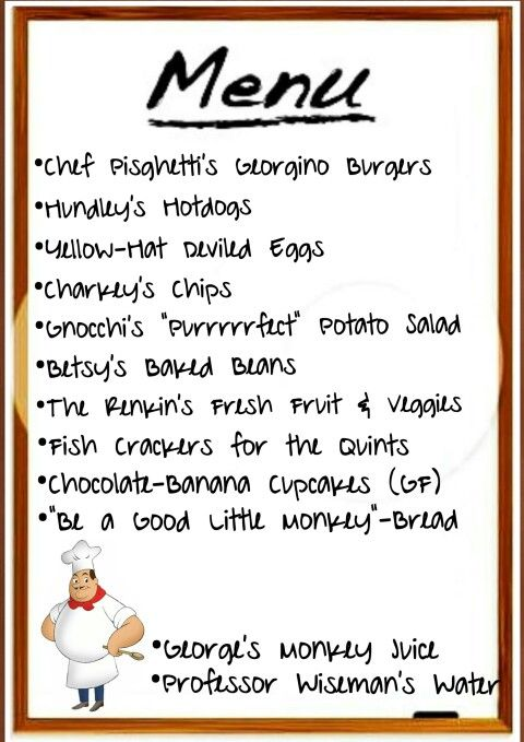 Menu for party  curious george birthday