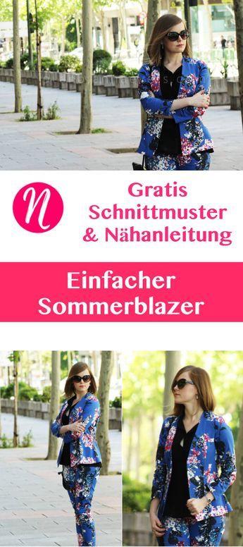 Einfacher Sommer-Blazer für Damen selber nähen. Kostenloses PDF-Schnittmuster zum Ausdrucken in Größe S/M. Nähtalente - Magazin für kostenlose Schnittmuster