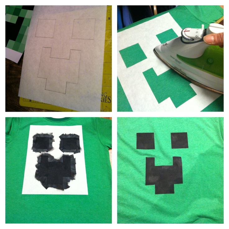 Homemade Minecraft T-Shirts for party favors