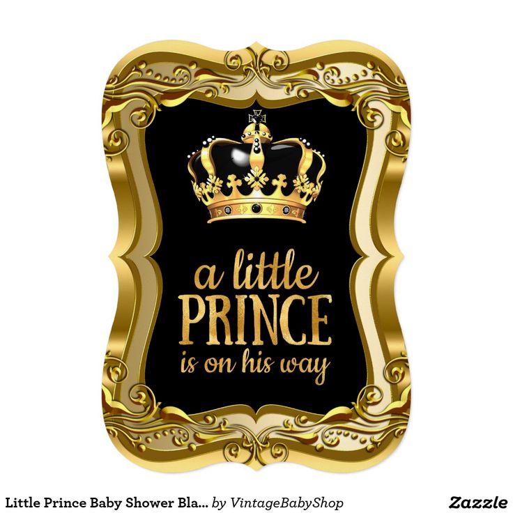 Little Prince Baby Shower Black Faux Gold Foil Card