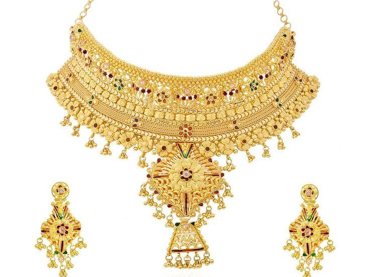 Stylish Bridal Gold Necklace Sets