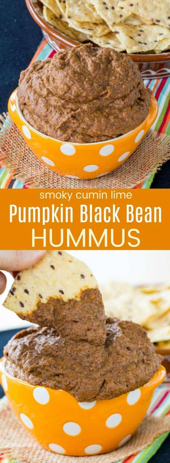 Smoky Cumin and Lime Pumpkin Black Bean Hummus - an easy black bean dip recipe that is perfect for fall with just a hint of spice. A naturally gluten-free and vegan appetizer or healthy snack! #hummus #pumpkin #glutenfree #vegan