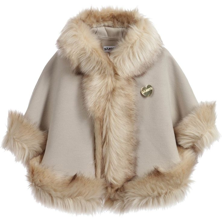 Bandits Girls Beige Cape with Synthetic Fur Trim at Childrensalon.com