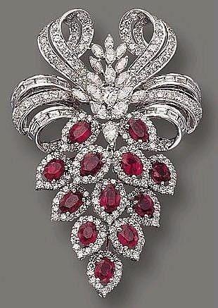 Ruby and diamond brooch #rubyjewelry #GemstoneBrooches #jewelrybracelets