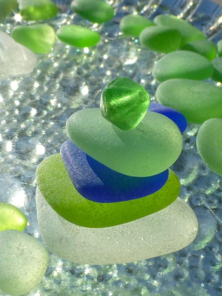 """$40  11x14"""" Print by author of The Sea Glass Rush, bevjacquemet@gmail.com  """"What a Joy! My First Green Bead!"""""""