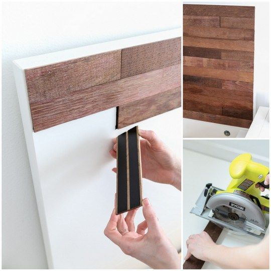 "DIY Ikea hack Stikwood headboard "" let me introduce you to the glory that is Stikwood. It's reclaimed wood that's already finished and with adhesive backing on it, which is perfect for those of us that aren't exactly woodworkers"""