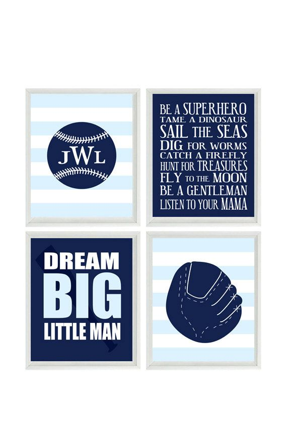 Baseball Nursery Wall Art Baby Boy Room By RizzleandRugee On Etsy