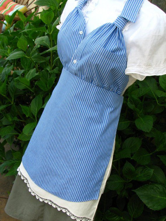 Upcycled Men's Dress Shirt Apron - Blue with White Pin Stripe